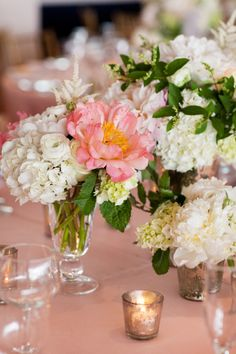 Pretty wedding flowers: http://www.stylemepretty.com/new-york-weddings/long-island/the-hamptons/east-hampton/2014/04/22/glamorous-east-hampton-wedding/   Photography: Jonathan Young - http://www.jyweddings.com/