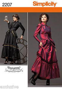 NEW-VICTORIAN-STEAM-PUNK-EDGY-DRESS-GOWN-JACKET-PATTERN-2207-RR-14-20