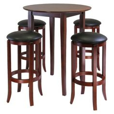 Fiona Antique Walnut High Table with Four Swivel Stools.Opens in a new window