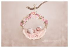 Digital Photography Background - Digital Photography Backdrop - Digital Newborn Prop - Pink Floral Woodland Swing Hammock with Plain Backdrop. Allows you to increase your client galleries in a matter of minutes. No storage or long set up process required, simply add in post