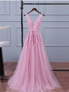Custom Prom Dress, Evening Dresses V-neck, Long Prom Dress, Lace Evening Dresses, Evening Dresses Pink Prom Dresses 2019 Homecoming Dresses Long, V Neck Prom Dresses, Pink Bridesmaid Dresses, Tulle Prom Dress, Cheap Prom Dresses, Prom Party Dresses, Sexy Dresses, Dress Lace, Formal Prom