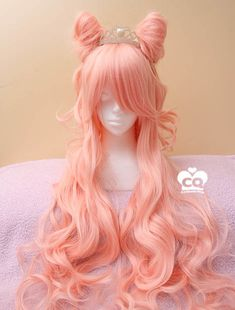 Long Curly Pastel Milky Peach Lolita Harajuku Wig sold by Peachiie Shop. Shop more products from Peachiie Shop on Storenvy, the home of independent small businesses all over the world. Pastel Wig, Pink Wig, Kawaii Hairstyles, Wig Hairstyles, Hairstyle Men, Funky Hairstyles, Formal Hairstyles, Wig Styles, Curly Hair Styles