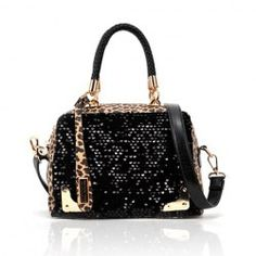Party Women's Tote Bag With Leopard Printed and Sequin Design