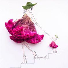 Cette artiste utilise des fleurs et des fruits pour sublimer des croquis de mode !