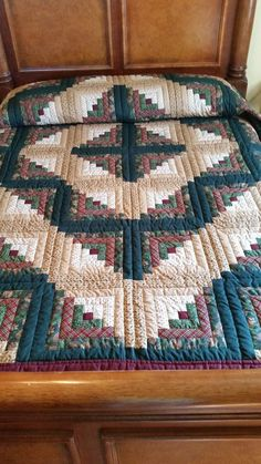 Lancaster County Amish Hand Quilted Queen Log Cabin Quilt #383 in Home & Garden, Bedding, Quilts, Bedspreads & Coverlets | eBay