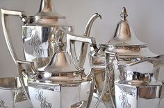 Antique 5 Piece Silver Service from the early 1900's from Meriden & International Silver Company♥ ~ :-) ♥ ~ ✿⊱╮♥ ~ :-)