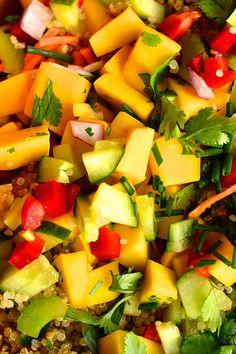 Mango Quinoa Salad reluctantentertainer.com #Entertaining #PartyPlanning #Ideas #Recipes #TeaTimeRecipes  #CafeRecipes #SpecialTeaShop #Teatime #Tea #Cucumbers #Prawns #Quinoa #Mango
