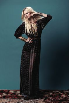 Dark gypsy maxi. Great for the cooler months with a fitted leather jacket.