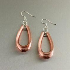 Copper Anticlastic Earrings by jewelry designer John S Brana - 7th Wedding Anniversary Gifts - Handmade Copper Jewelry