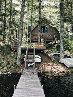Cabins And Cottages: Our little A-frame lake cabin A Frame Cabin, A Frame House, Chalet Quebec, Cabin In The Woods, Cabin On The Lake, Small Lake Cabins, Small Lake Houses, Little Cabin, Cabins And Cottages
