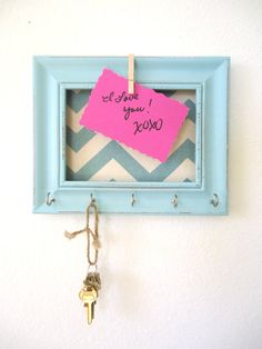 Key Holder Memo board Home Decor Yellow Chevron by TheHopeStack, $19.50... Or DIY…i could easily make this!