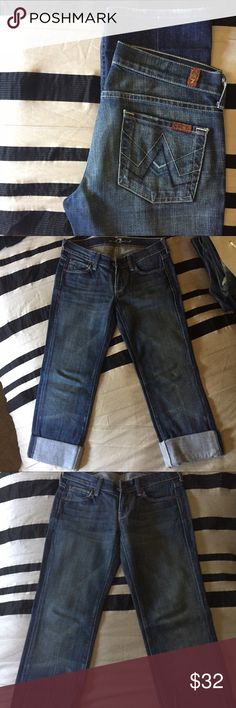 """7FAM Straight """"A-Pocket"""" Jeans 24x32 ✨EUC / BARELY WORN✨ These jeans were exclusively designed for Planet Funk which was once a popular designer jean store. Low waist jeans; front rise is 7.5"""". Inseam is 32"""" / leg opening is almost 14"""". 98% cotton and 2% polyurethane. 7 For All Mankind Jeans Straight Leg"""
