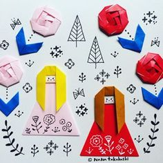 熊と小人も今度入れよう(^.^) #グリム童話 #しらゆきべにばら #折り紙 #おりがみ #イラスト #ペーパークラフト #かわいい #origami #illustration #papercraft #paperflower #snowwhiterosered #grimmsfairytales