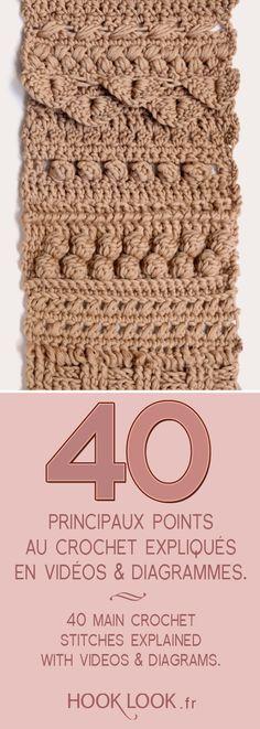 Principaux points fantaisie au crochet expliqués en vidéos et diagrammes. 40 main crochet stitches explained with vidéos et diagrams by hooklook.fr