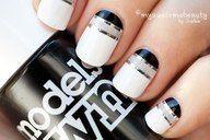 Smart classy stripy nails.