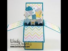 Pop Up Box Card Tutorial - YouTube using Banner Blast stamp set and punch