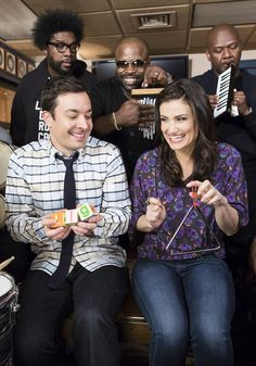 "Jimmy Fallon and Idina Menzel Do ""Let It Go"" With Classroom Instruments SHE IS SO CUTE HERE"