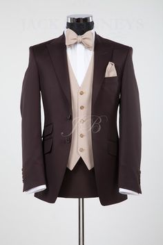 The York, brown wedding suit hire from Jack Bunneys Wedding Suit Hire, Bow Tie Wedding, Wedding Men, Wedding Attire, Wedding Dinner, Wedding Ideas, Groom Suit Vintage, Vintage Wedding Suits, Bow Tie Suit