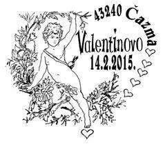 Kroatischer Sonderstempel zum Valentinstag mit dem Bildnis Amors