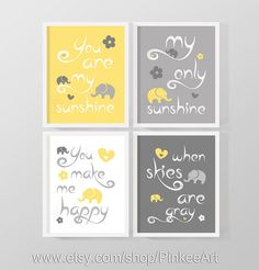 you are my sunshine print for kids, my sunshine baby room art gray yellow, boy nursery quote print, my only sunshine art, baby shower gift by PinkeeArt, $29.00