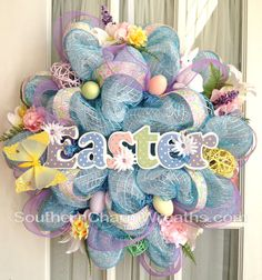 Make your own Easter wreath with fun spring colors of decorative mesh!  Check out all of the great decorative mesh we have at Old Time Pottery!  http://www.oldtimepottery.com/
