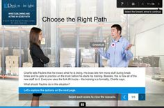 """Bespoke eLearning Development Example 5: Scenario with a twist. In our suite of Generic Compliance, we chose a scenario with a twist by adding a theme of """"Choose the Right Path"""". While all of us have a sense of right and wrong, this approach added value in the context of the specific compliance mandate in terms of the most appropriate behavior and why the learners need to demonstrate the same. http://www.eidesign.net/blog/what-is-bespoke-elearning-featuring-6-killer-examples/"""
