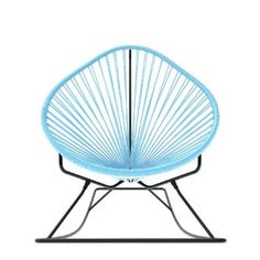 Innit Designs Acapulco Rocker, Blue Weave on Black Frame Modern Outdoor Rocking Chairs, Patio Rocking Chairs, Modern Outdoor Furniture, Wicker Chairs, Outdoor Chairs, Blue And Yellow Living Room, Cool Rooms, Outdoor Seating, Design