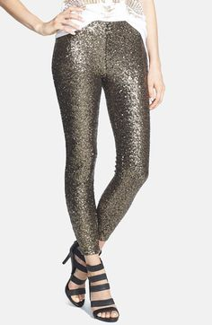 Fun gold sequin leggings - perfect for New Year's Eve!