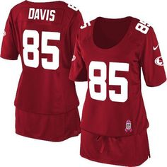 Nike 49ers  85 Vernon Davis Red Team Color Women s Breast Cancer Awareness  Embroidered NFL Elite 576f2af2d