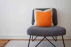 Hand Knit Colourblock Cushion in Ecru and Orange