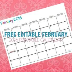 Free Printable Calendar February 2016  Perfect for meal planning, exercise schedules, cleaning schedules and more!