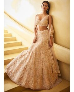 Indian Wedding Wear, Indian Bridal Outfits, Indian Dresses, Bridal Dresses, V Neck Blouse, Sheer Blouse, Wedding Lehenga Designs, Traditional Indian Wedding, Most Beautiful Models