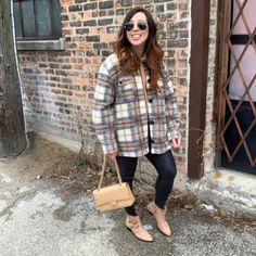 Plaid oversize jacket, leggings and booties | For more style inspiration visit 40plusstyle.com Fashion Over 40, 50 Fashion, How To Wear Leggings, 50 Style, Oversized Jacket, Photos Of Women, Trousers, Plaid, Booty