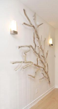 Get Inspired Driftwood Wall Art, Driftwood Projects, Driftwood Sculpture, Decoration Branches, Tree Branch Decor, Garden Wall Art, Diy Wall Art, Wall Decor, Greek Decor