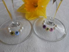 Planning a Spring Wedding? Check out these pastel wedding wine glass charms. Can be personalised with other names too.