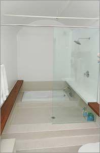 #MasseyHarris #Lofts #Toronto Loft Bathroom, Bathrooms, Radiant Floor, Post And Beam, Exposed Brick, Lofts, Beams, Toronto, The Neighbourhood