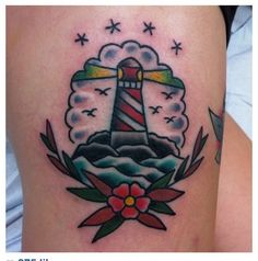 Traditional tattoo. Lighthouse. By @Mike Tucker Mendes