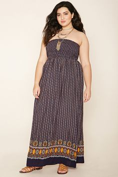 Forever 21+ - A lightweight, woven maxi dress featuring a strapless design, an abstract geo print, smocked bust, and an ornate geo print at the hem.