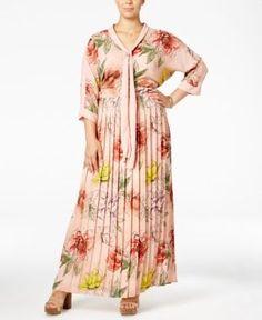 Melissa McCarthy Seven7 Trendy Plus Size Tie-Neck Maxi Dress - Pink 1X