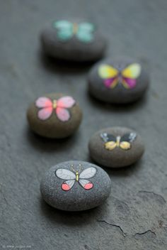Painted rock, painted stone, stone painting, rock painting. Rock art, Stone art. : Butterfly pebbles