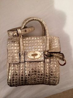 Miniature Gold Mulberry Bayswater Signature Bag 40th Party