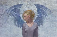 """Angel Unaware  Limited Edition Giclee Print  Image size: 19 3/4""""w x 13 1/4""""h."""