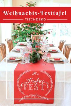 Weihnachtsfesttafel mit Tafelstoff. Schöne Inspiration für die Tischdeko zu Heilig Abend!