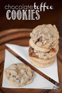 These Chocolate Toffee Cookies take the perfect soft and chewy chocolate chip cookie to the next level. They are easy to make and couldn't taste better.
