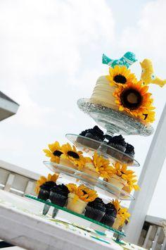 my delish wedding cake/cupcakes!