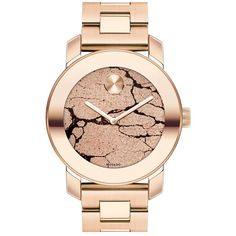 Movado 'Bold' Crackle Dial Bracelet Watch, 36mm ($695) ❤ liked on Polyvore featuring jewelry, watches, accessories, bracelets, rose gold, dot jewelry, bezel jewelry, stainless steel bracelet, bracelet watches and bracelet jewelry