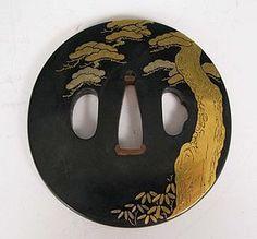 Shakudo Tsuba with Gold Kaga-Inlaid Pine Tree