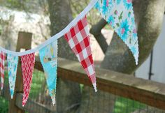 Glamping Bunting Banner-Fabric Banner-Fabric Bunting-Flags-Pennants-Moda Glamping on Etsy, $30.00