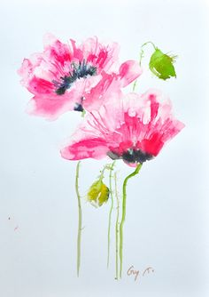 Red poppy painting original watercolor painting on by Guykantawan