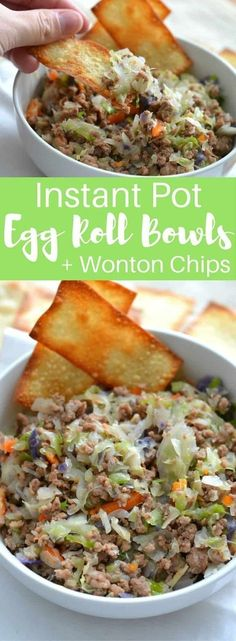 Craving Chinese food, but trying to stick to your low-carb resolution? Instant Pot Egg Roll Bowls are the perfect solution for an easy weekday meal to satisfy that craving without all the guilt! #InstantPot